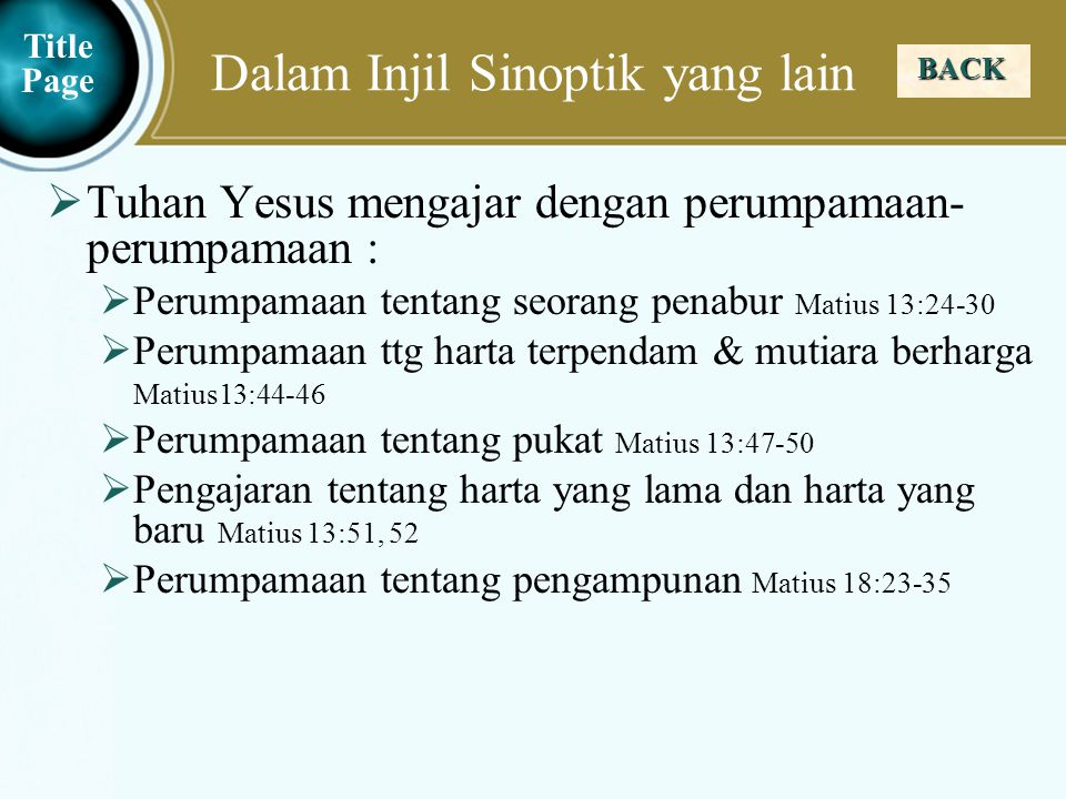 Dalam Injil Sinoptik yang lain