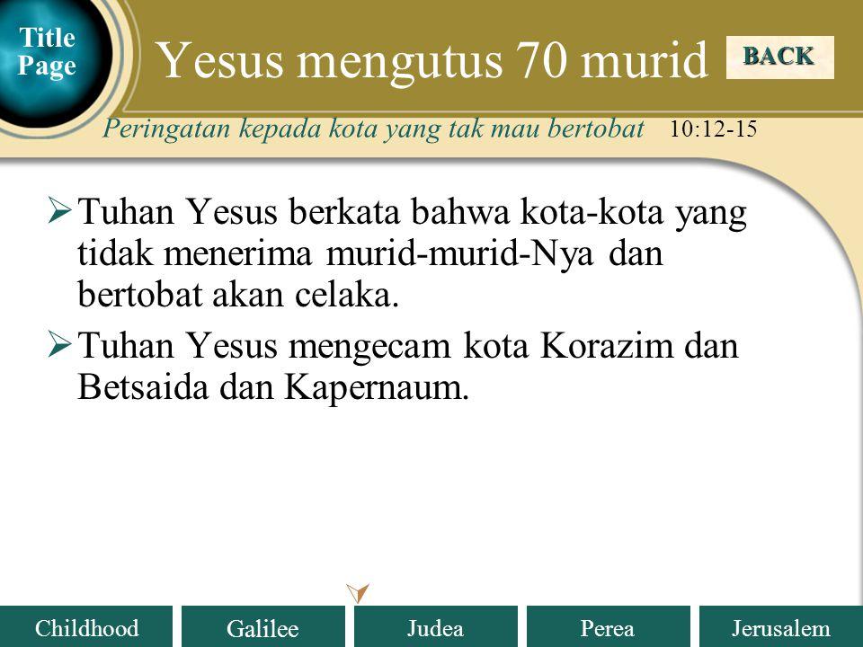 Yesus mengutus 70 murid Title Page. BACK. Peringatan kepada kota yang tak mau bertobat 10:12-15.