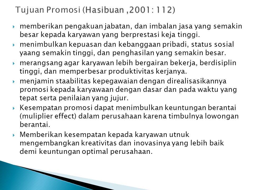 Tujuan Promosi (Hasibuan ,2001: 112)