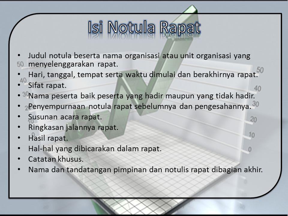 Isi Notula Rapat Judul notula beserta nama organisasi atau unit organisasi yang menyelenggarakan rapat.