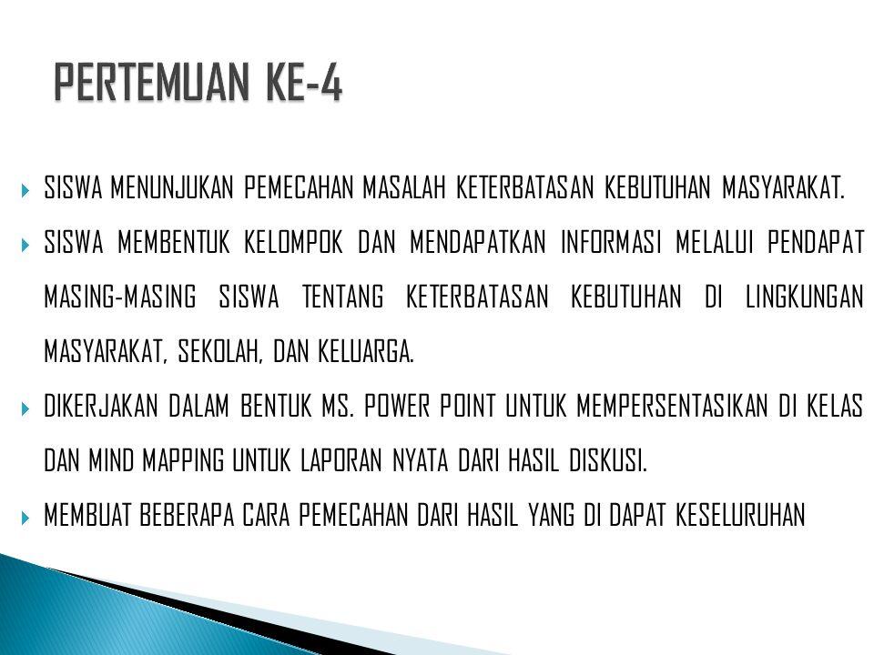 PERTEMUAN KE-4 SISWA MENUNJUKAN PEMECAHAN MASALAH KETERBATASAN KEBUTUHAN MASYARAKAT.