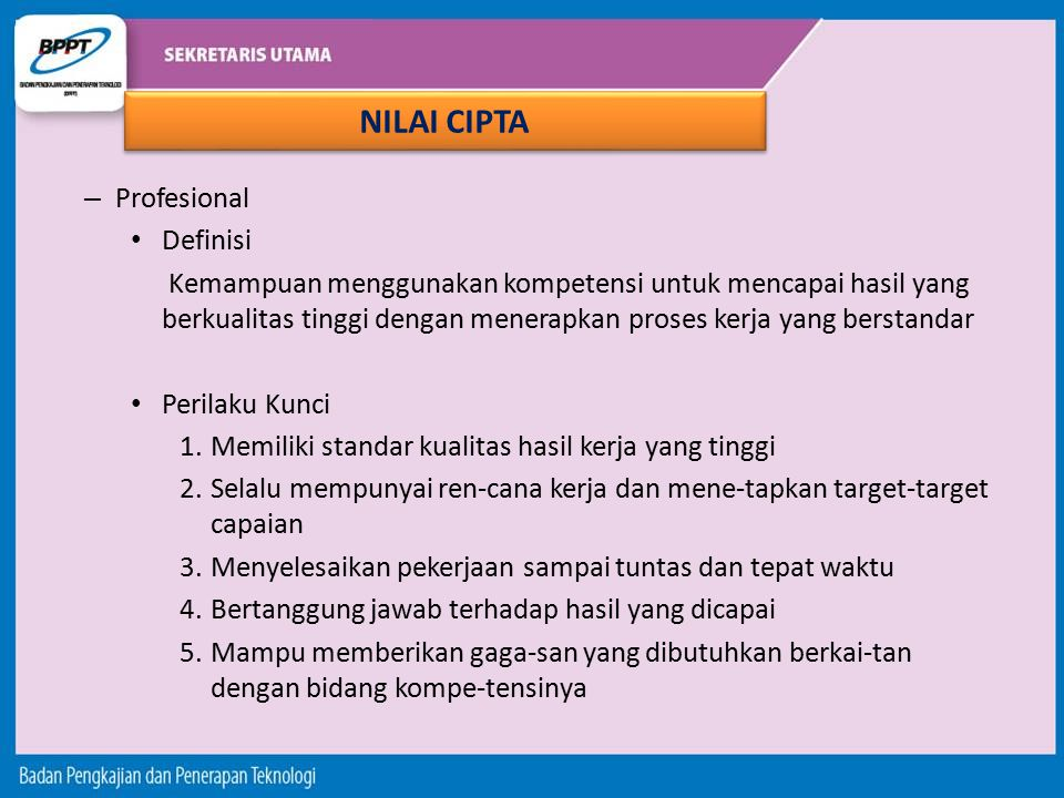 NILAI CIPTA Profesional Definisi