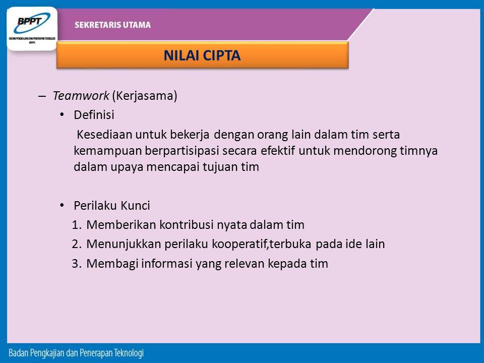 NILAI CIPTA Teamwork (Kerjasama) Definisi