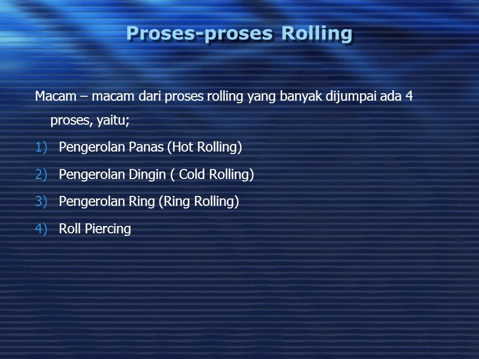 Proses-proses Rolling