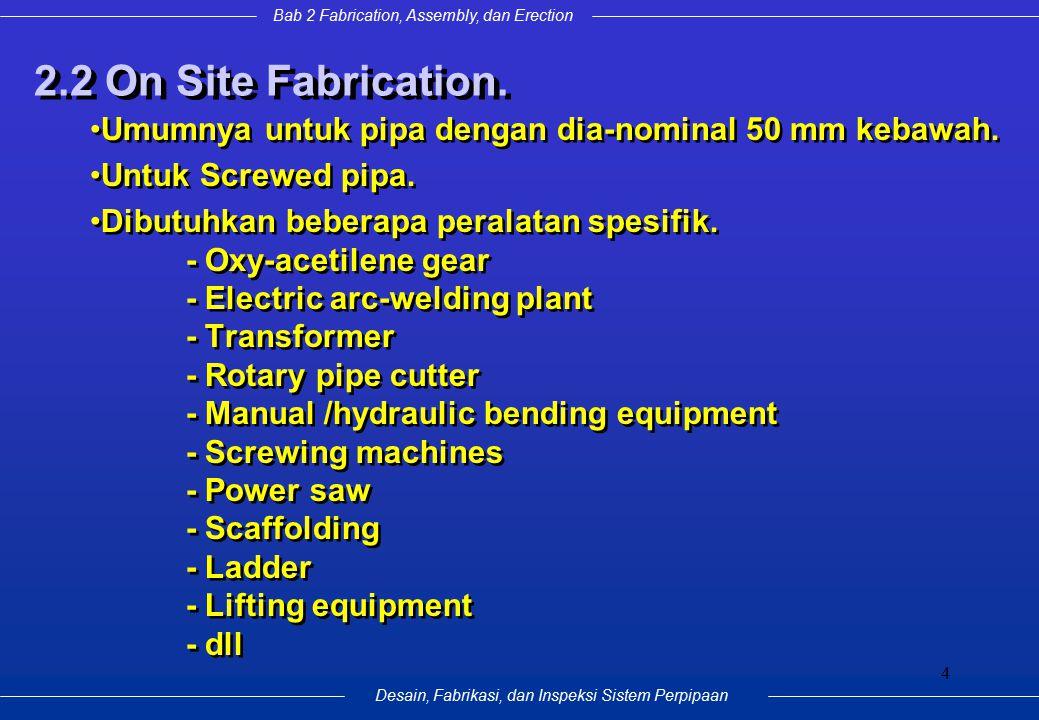 Desain, Fabrikasi, dan Inspeksi Sistem Perpipaan