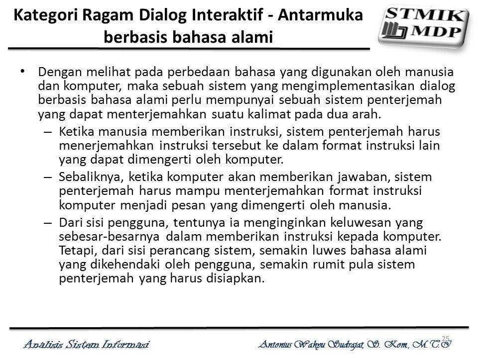 Kategori Ragam Dialog Interaktif - Antarmuka berbasis bahasa alami