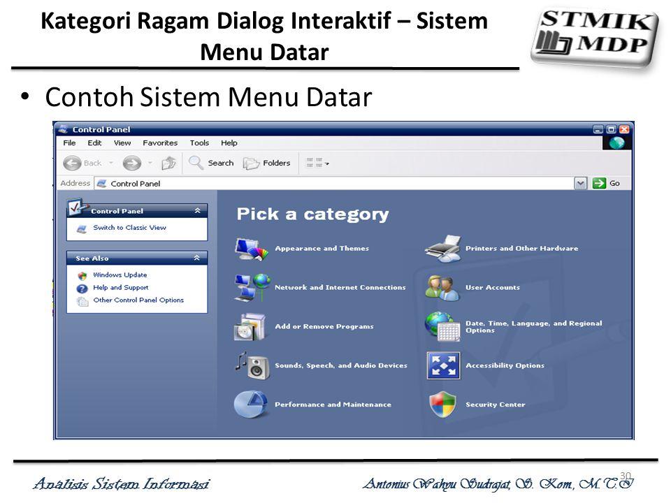 Kategori Ragam Dialog Interaktif – Sistem Menu Datar