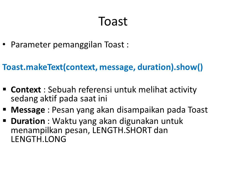 Toast Parameter pemanggilan Toast :