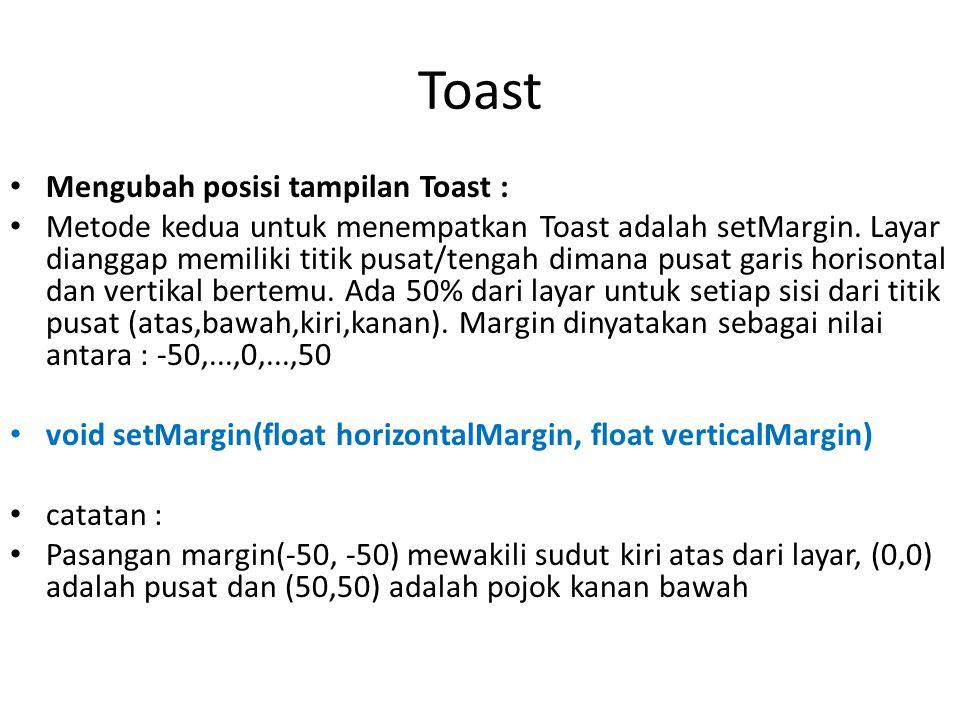 Toast Mengubah posisi tampilan Toast :