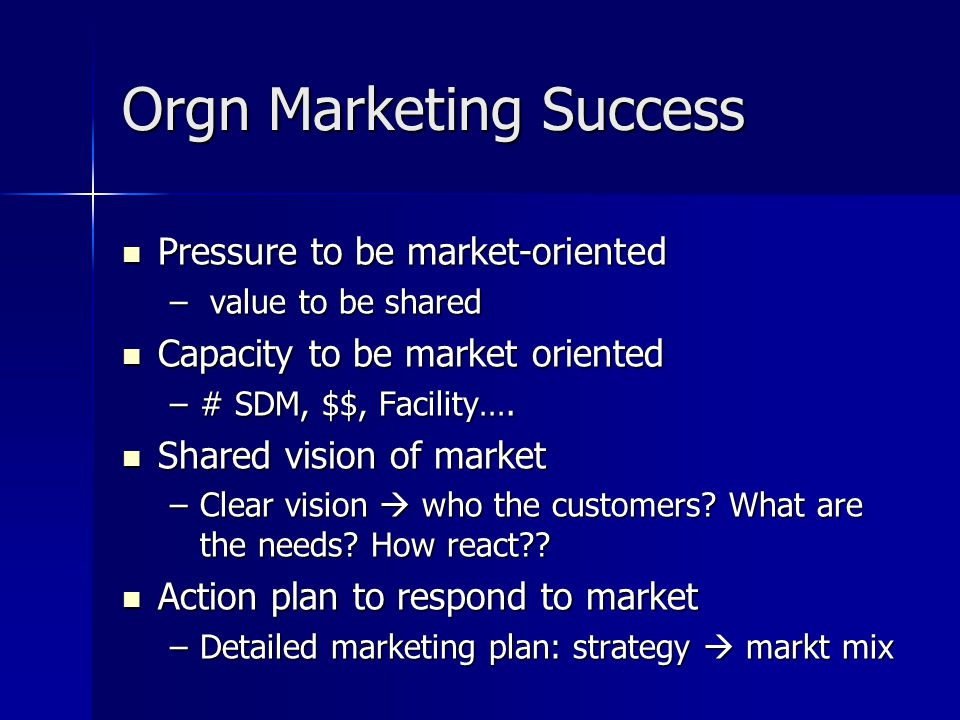 Orgn Marketing Success
