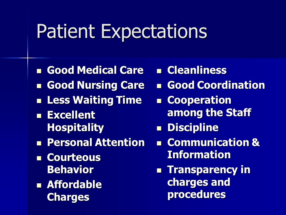 Patient Expectations Good Medical Care Good Nursing Care