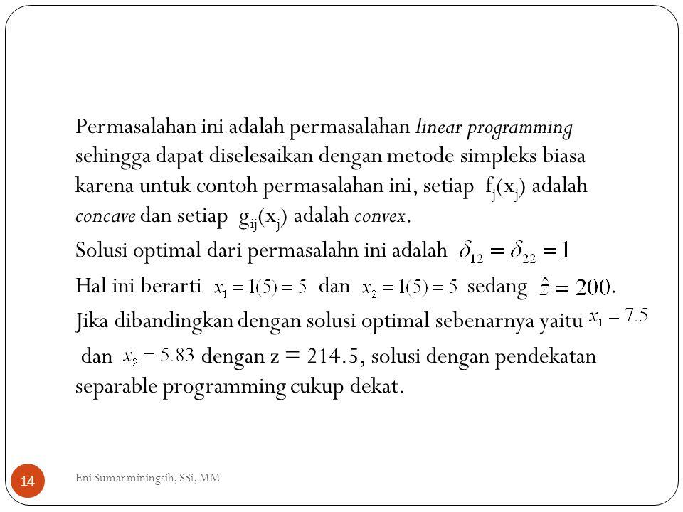 Permasalahan ini adalah permasalahan linear programming sehingga dapat diselesaikan dengan metode simpleks biasa karena untuk contoh permasalahan ini, setiap fj(xj) adalah concave dan setiap gij(xj) adalah convex. Solusi optimal dari permasalahn ini adalah Hal ini berarti dan sedang . Jika dibandingkan dengan solusi optimal sebenarnya yaitu dan dengan z = 214.5, solusi dengan pendekatan separable programming cukup dekat.