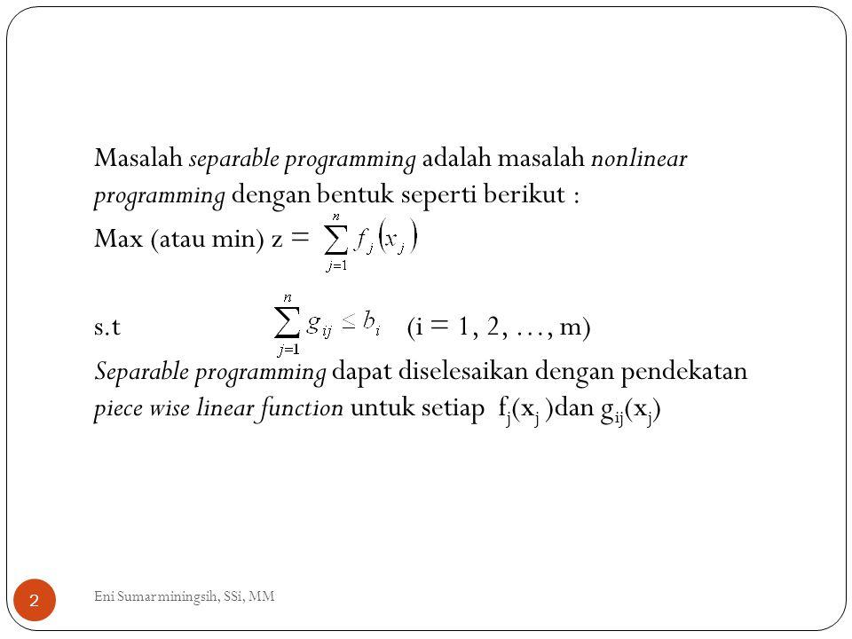 Masalah separable programming adalah masalah nonlinear programming dengan bentuk seperti berikut : Max (atau min) z = s.t (i = 1, 2, …, m) Separable programming dapat diselesaikan dengan pendekatan piece wise linear function untuk setiap fj(xj )dan gij(xj)