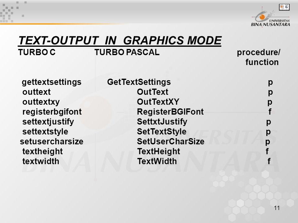 TEXT-OUTPUT IN GRAPHICS MODE