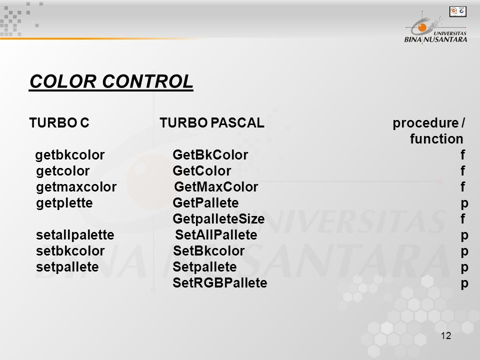 COLOR CONTROL TURBO C TURBO PASCAL procedure / function