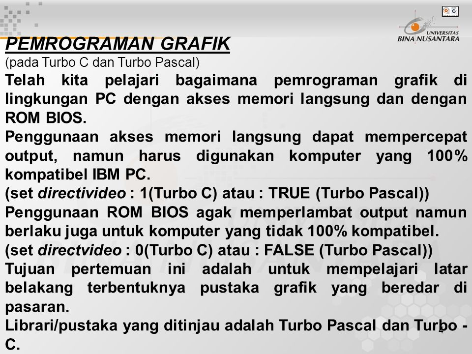 PEMROGRAMAN GRAFIK (pada Turbo C dan Turbo Pascal)