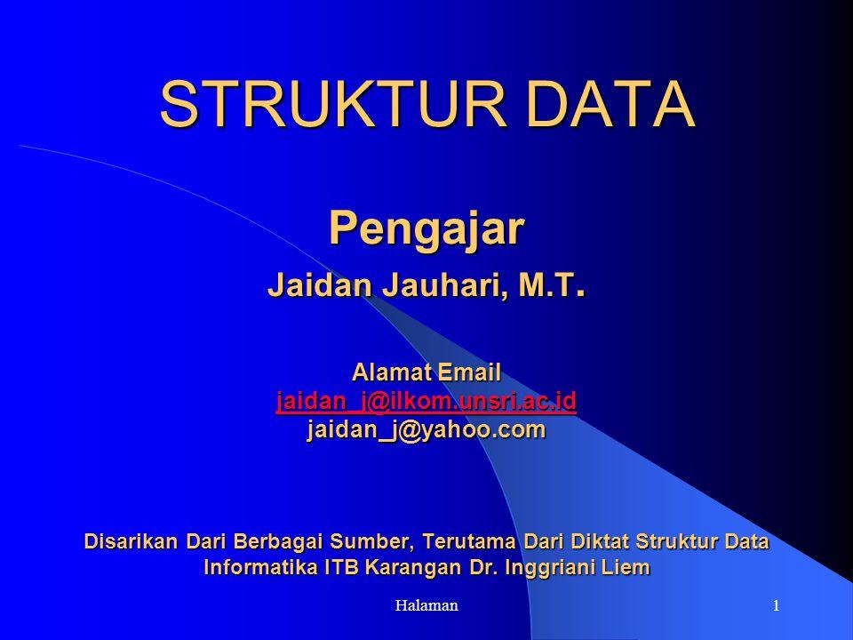 STRUKTUR DATA Pengajar Jaidan Jauhari, M. T