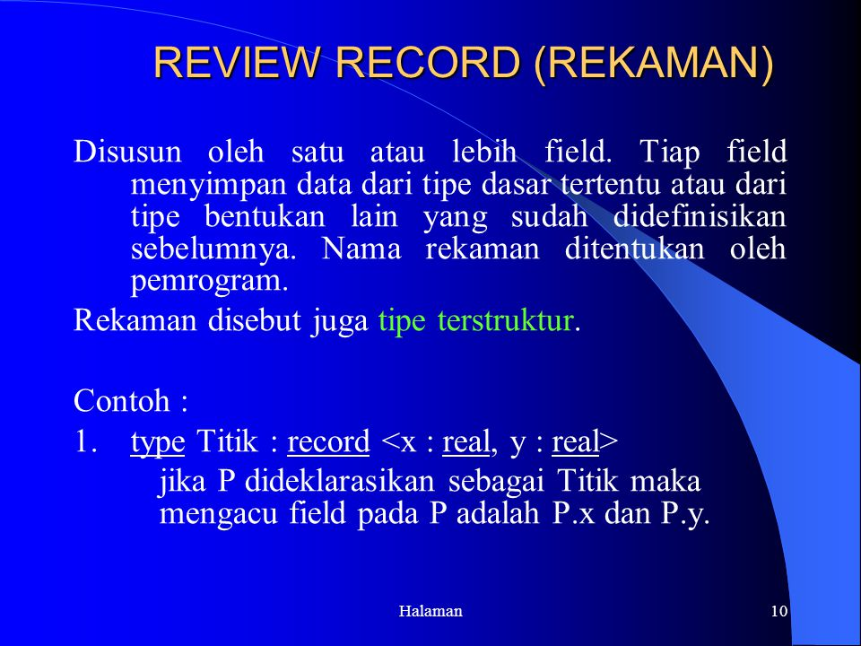 REVIEW RECORD (REKAMAN)