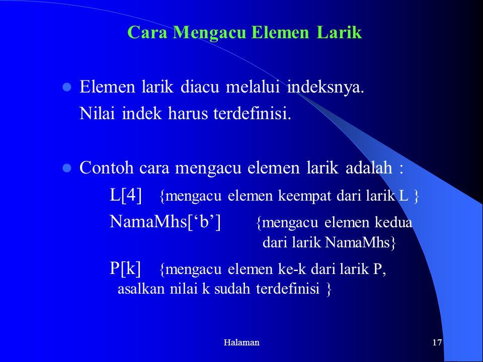 Cara Mengacu Elemen Larik Elemen larik diacu melalui indeksnya.