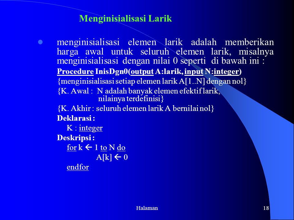 Menginisialisasi Larik