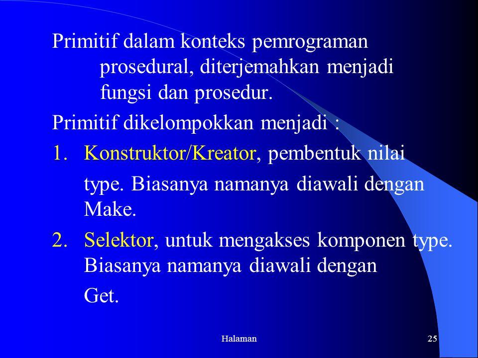 Primitif dikelompokkan menjadi :