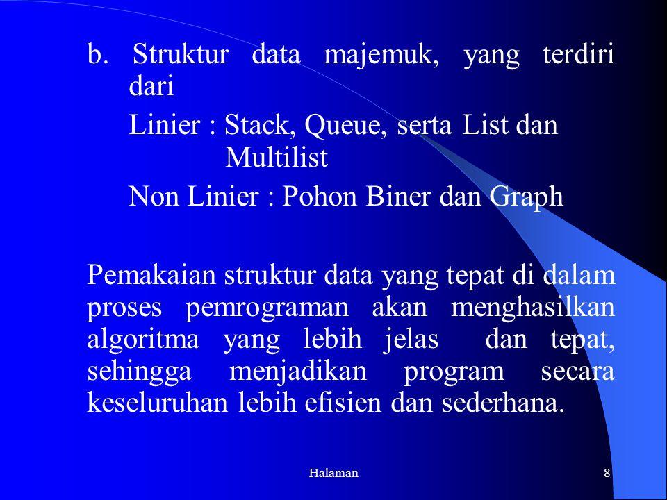 b. Struktur data majemuk, yang terdiri dari
