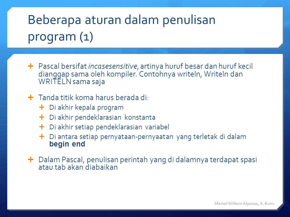 Beberapa aturan dalam penulisan program (1)