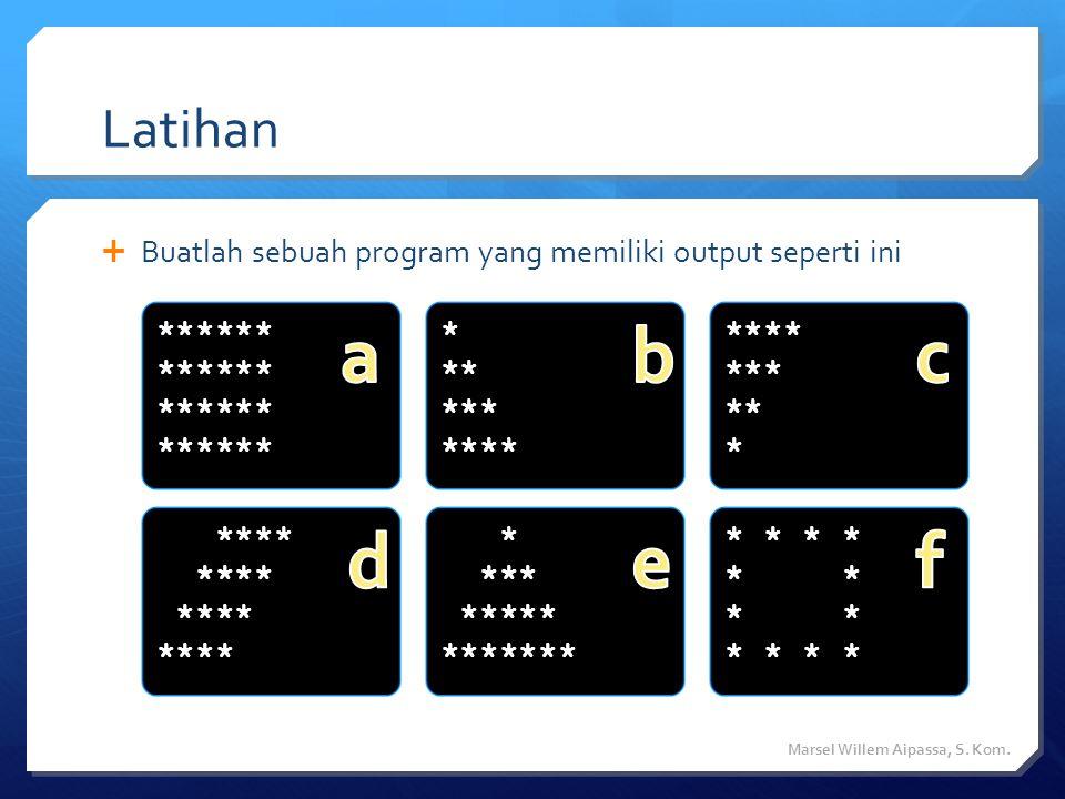 Latihan Buatlah sebuah program yang memiliki output seperti ini. ****** a. * ** *** **** b. ****