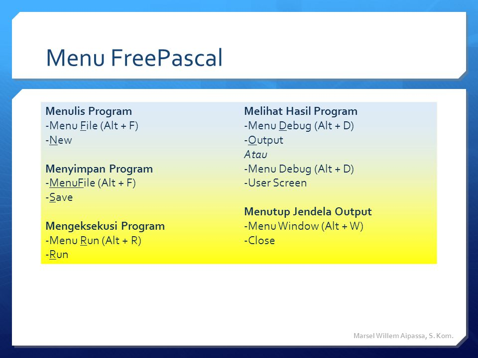 Menu FreePascal Menulis Program Menu File (Alt + F) New