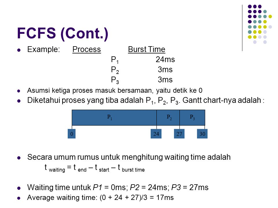 FCFS (Cont.) Example: Process Burst Time P1 24ms P2 3ms P3 3ms