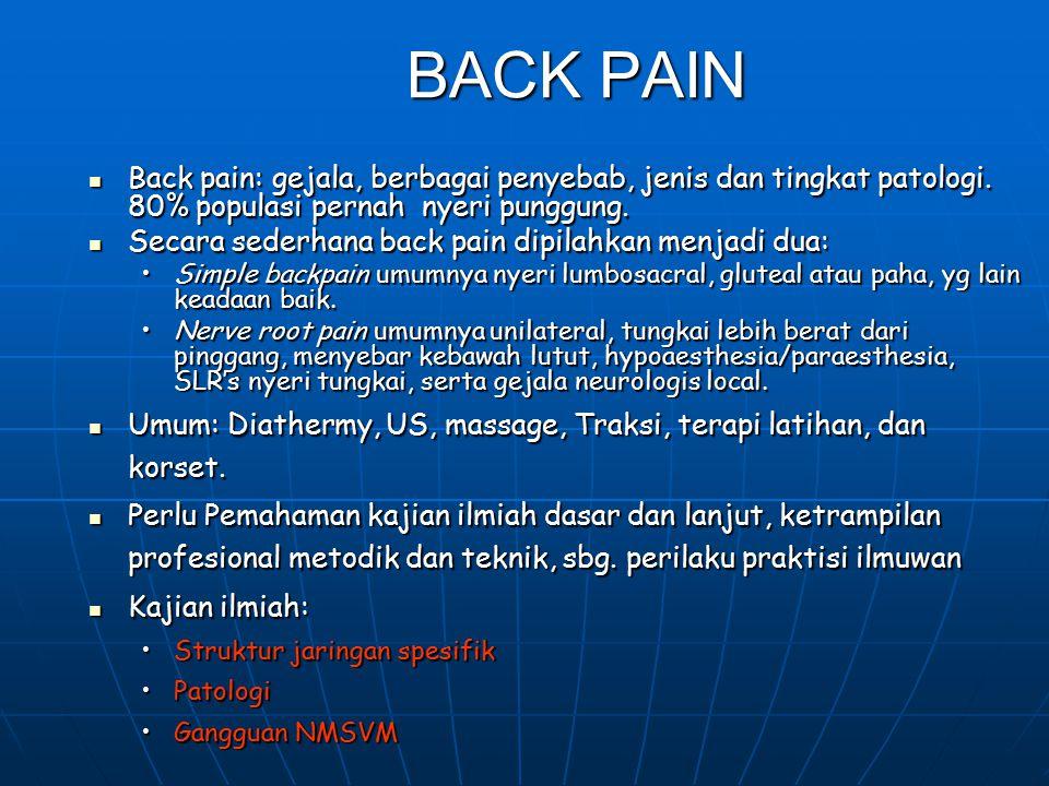 BACK PAIN Back pain: gejala, berbagai penyebab, jenis dan tingkat patologi. 80% populasi pernah nyeri punggung.