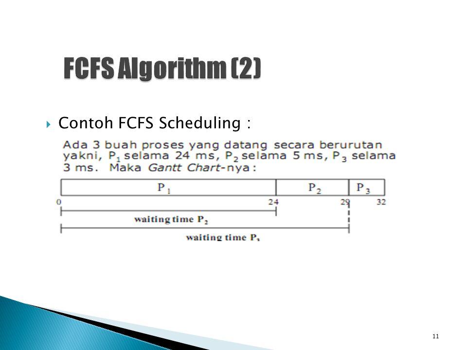 FCFS Algorithm (2) Contoh FCFS Scheduling :