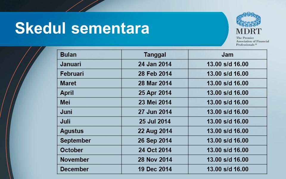 Skedul sementara Bulan Tanggal Jam Januari 24 Jan 2014 13.00 s/d 16.00