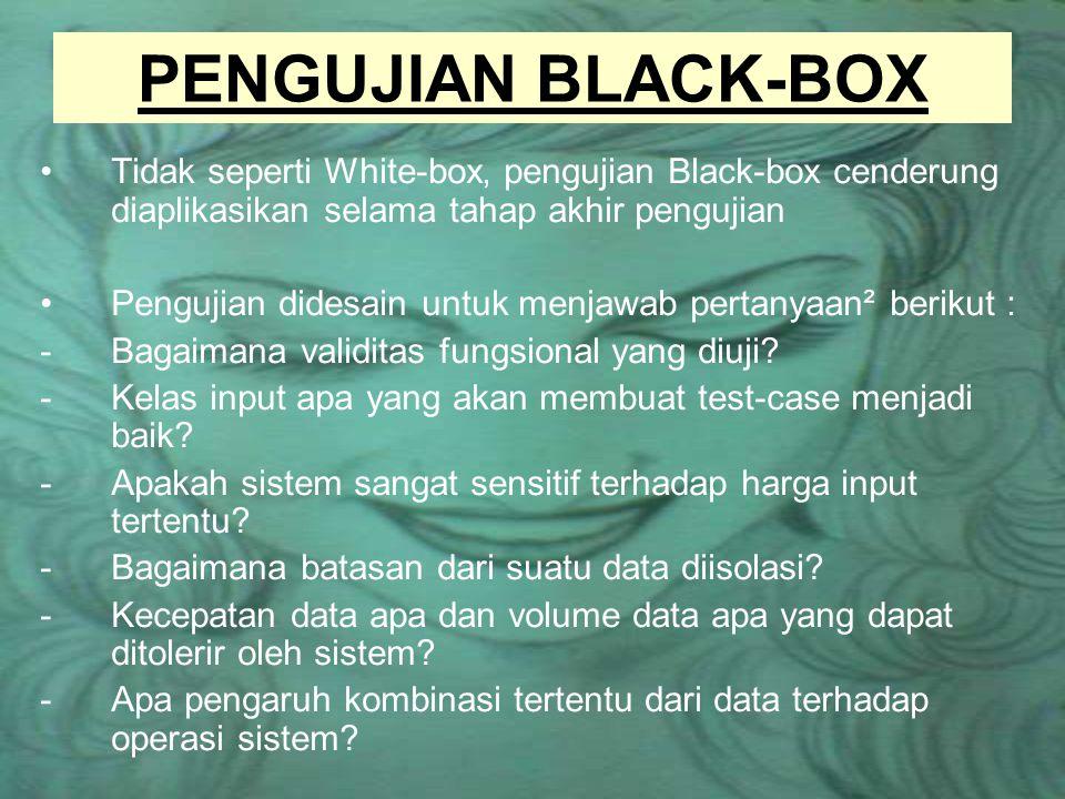 PENGUJIAN BLACK-BOX Tidak seperti White-box, pengujian Black-box cenderung diaplikasikan selama tahap akhir pengujian.