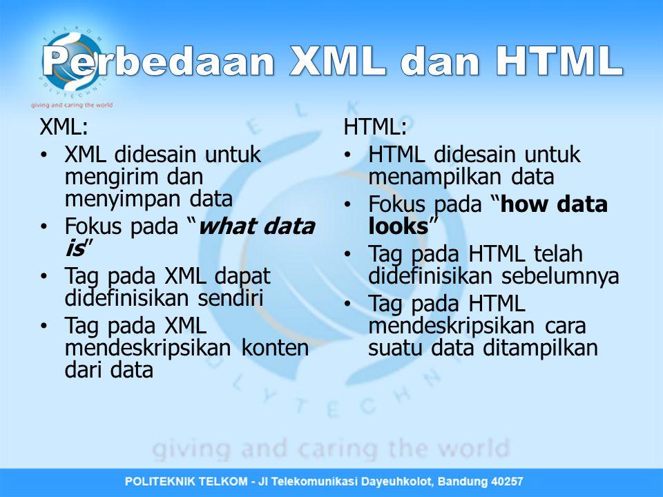 Perbedaan XML dan HTML XML: