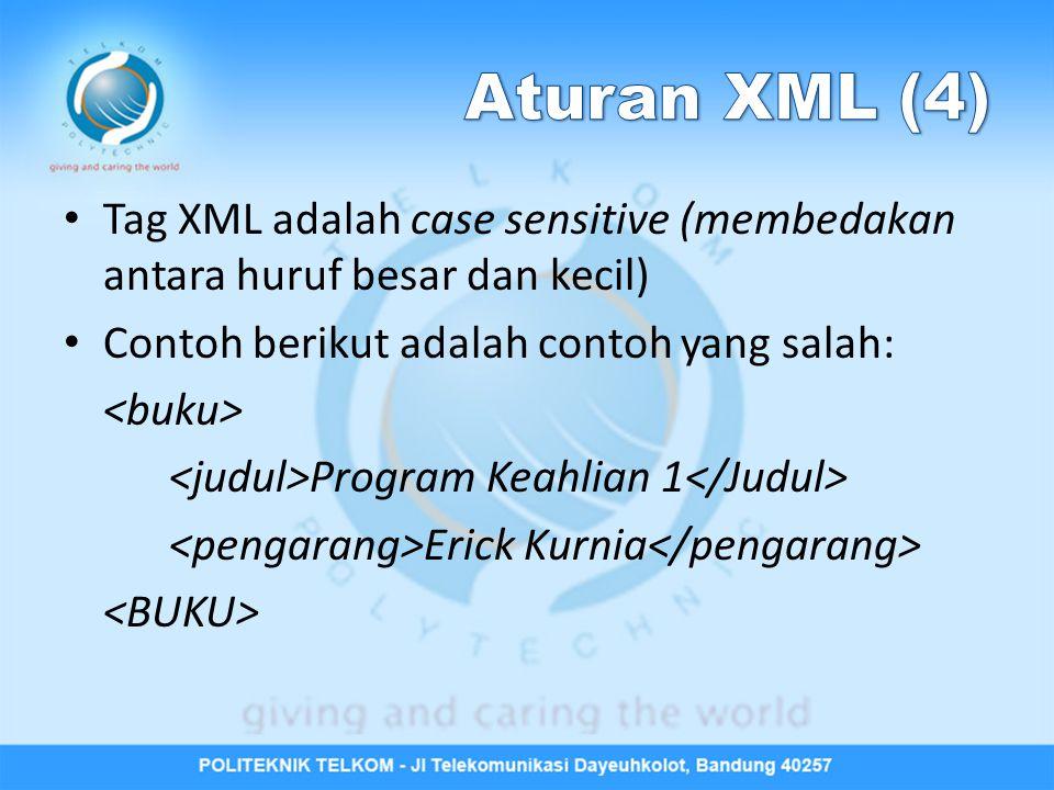 Aturan XML (4) Tag XML adalah case sensitive (membedakan antara huruf besar dan kecil) Contoh berikut adalah contoh yang salah:
