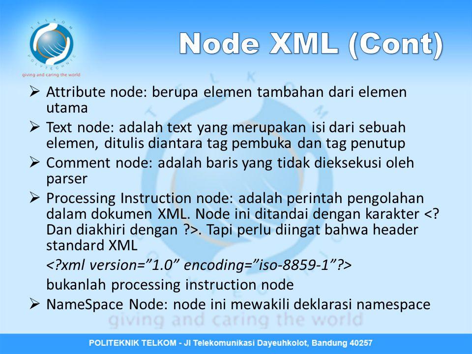 Node XML (Cont) Attribute node: berupa elemen tambahan dari elemen utama.