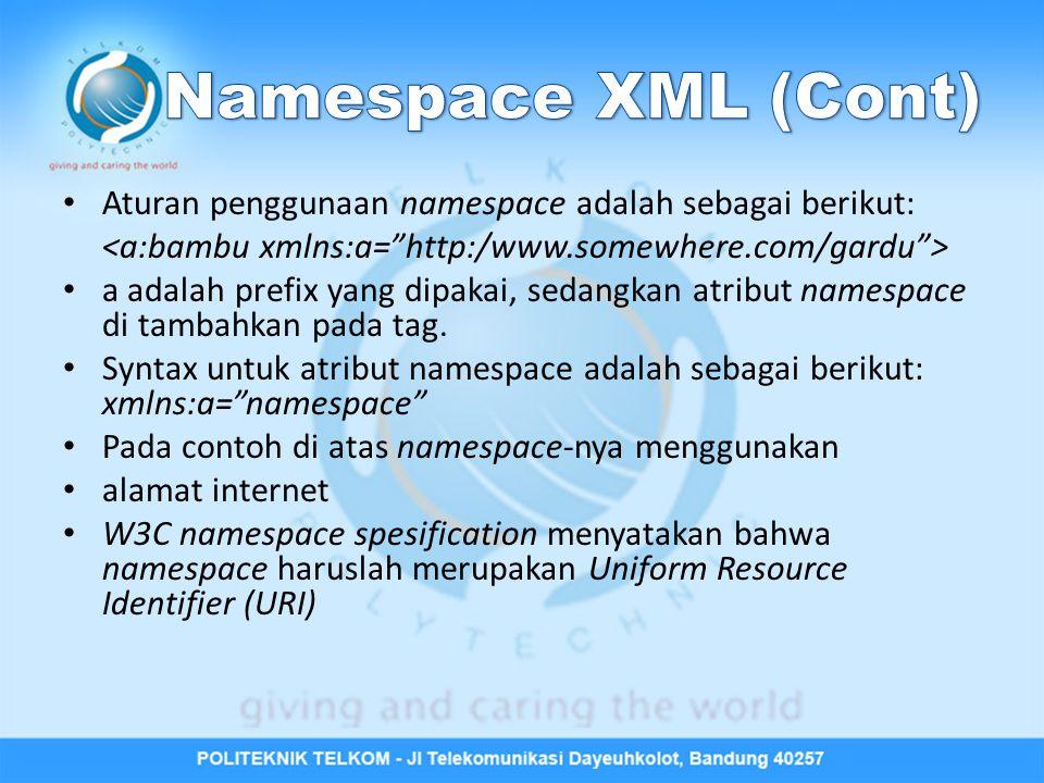 Namespace XML (Cont) Aturan penggunaan namespace adalah sebagai berikut: <a:bambu xmlns:a= http:/www.somewhere.com/gardu >