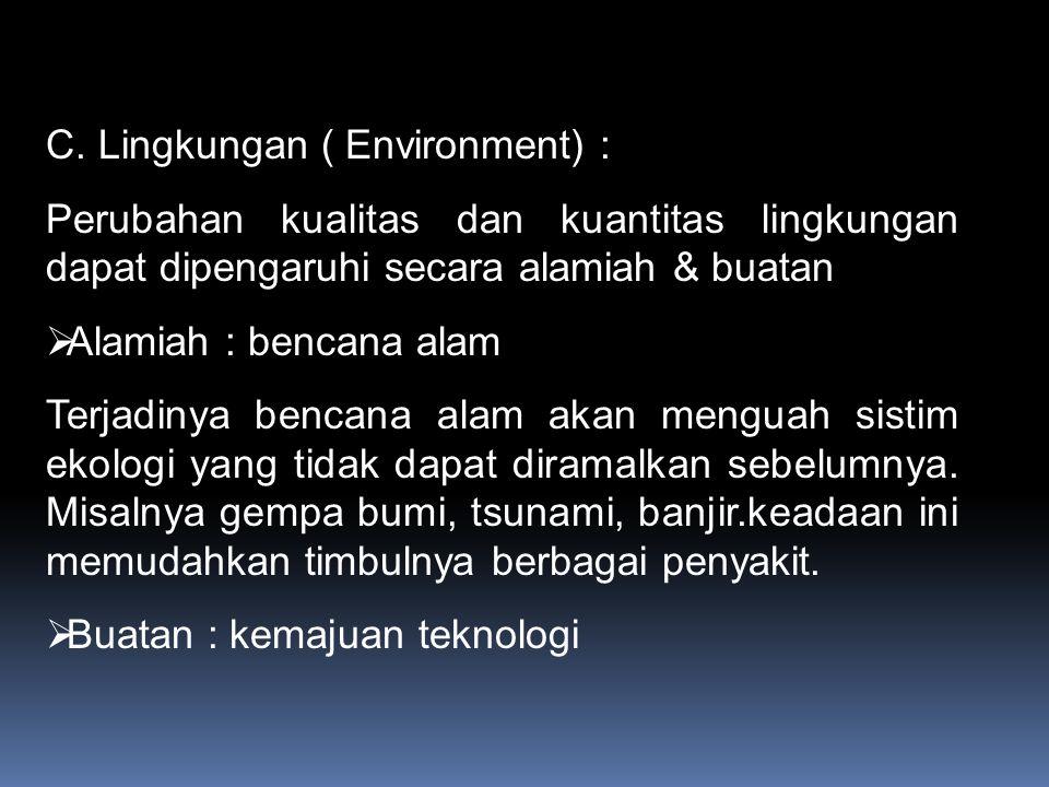 C. Lingkungan ( Environment) :