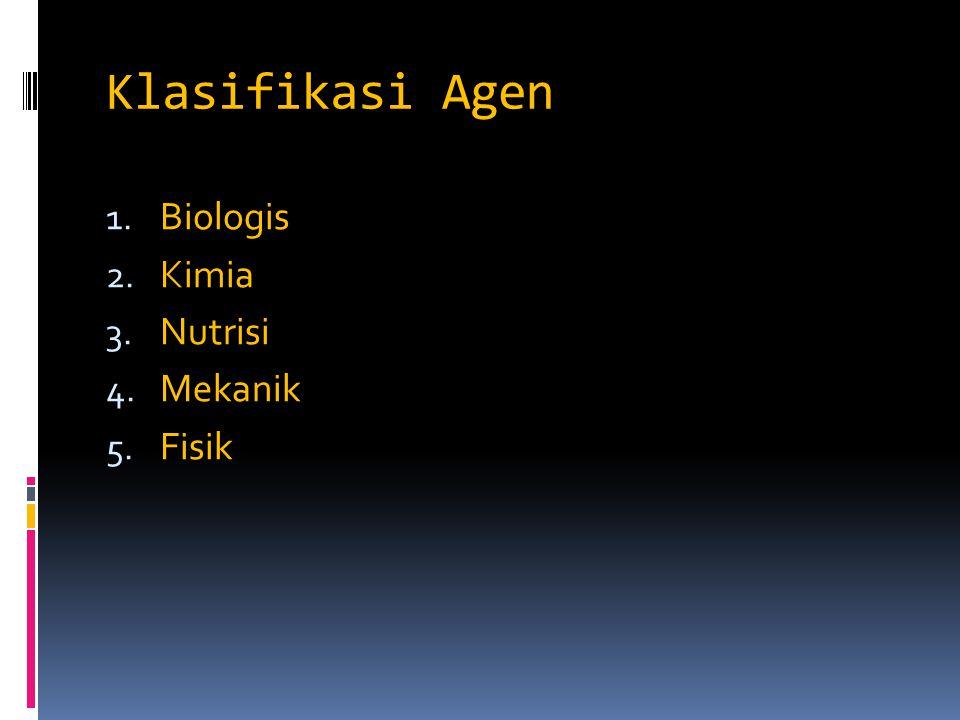 Klasifikasi Agen Biologis Kimia Nutrisi Mekanik Fisik