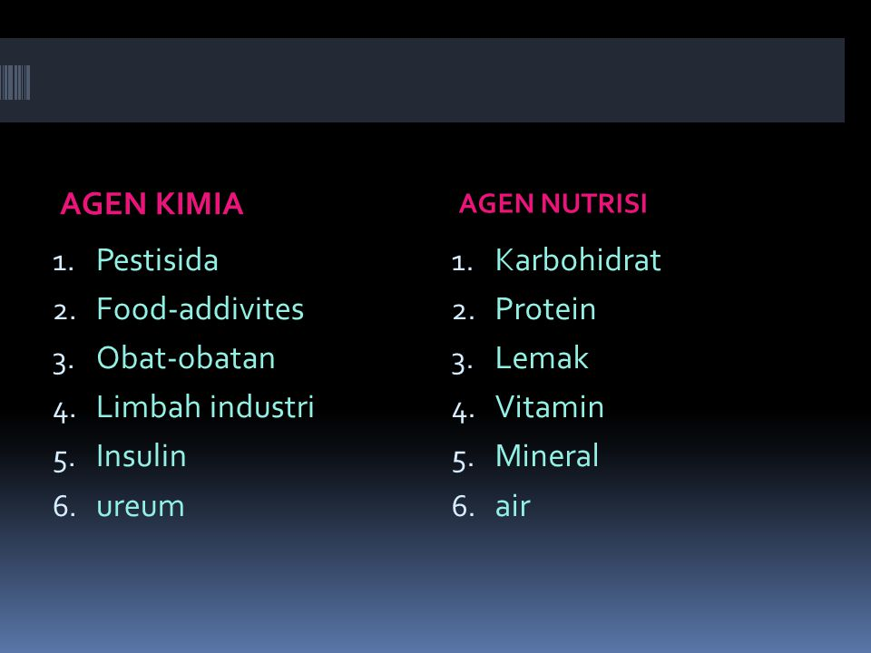 AGEN KIMIA Pestisida Food-addivites Obat-obatan Limbah industri