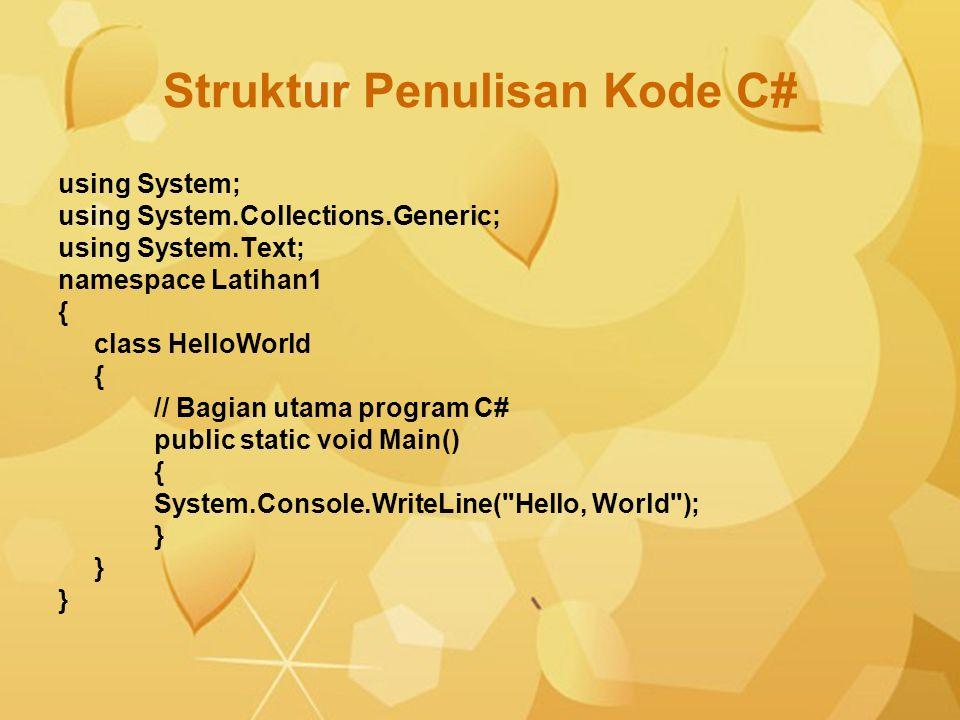 Struktur Penulisan Kode C#