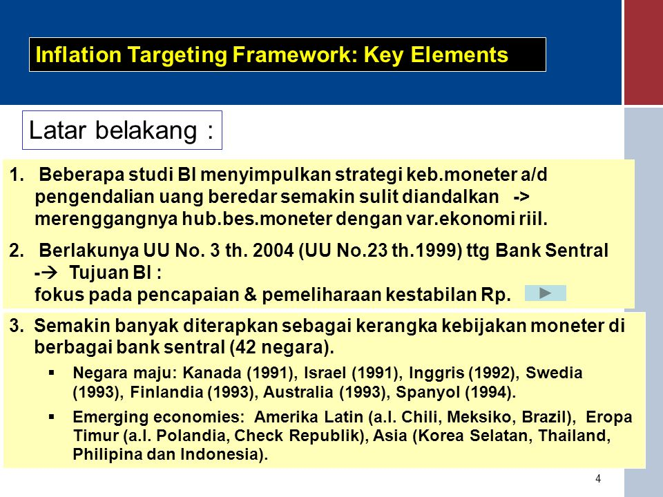Latar belakang : Inflation Targeting Framework: Key Elements