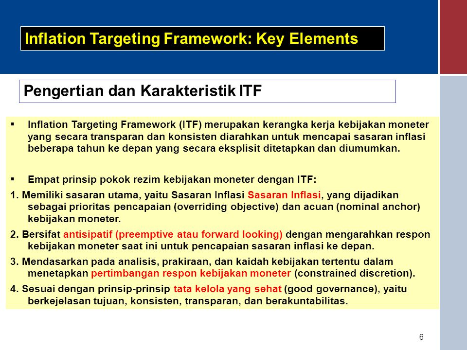 Inflation Targeting Framework: Key Elements