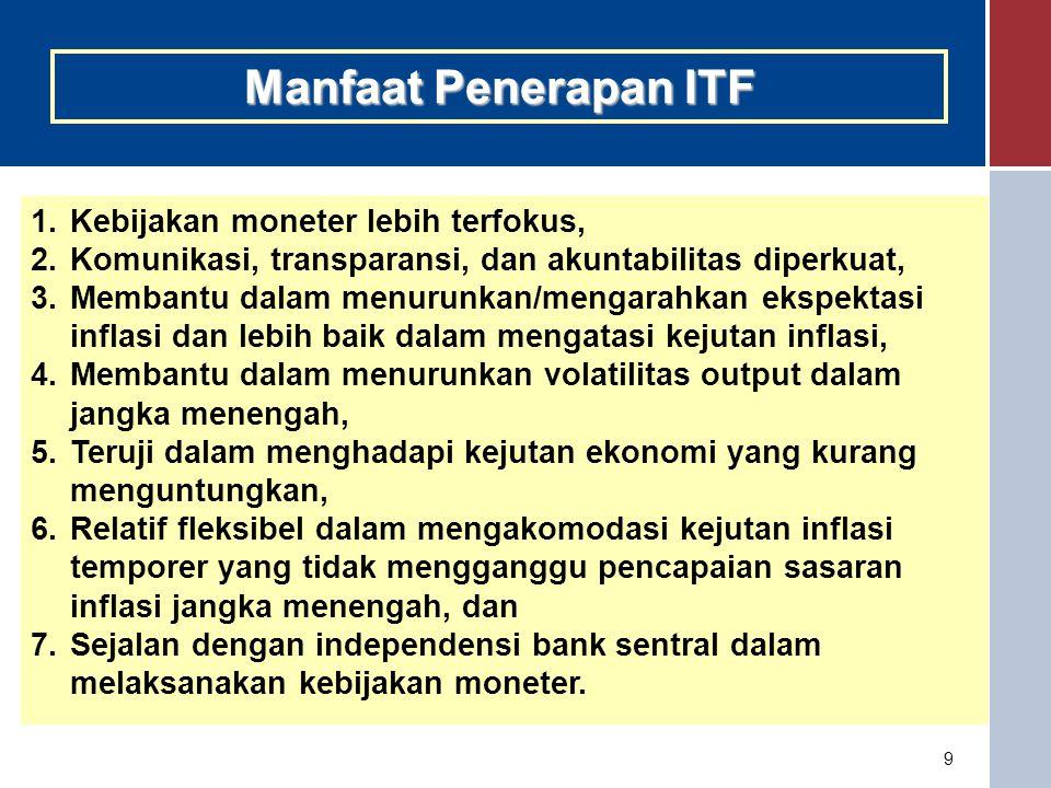Manfaat Penerapan ITF Kebijakan moneter lebih terfokus,