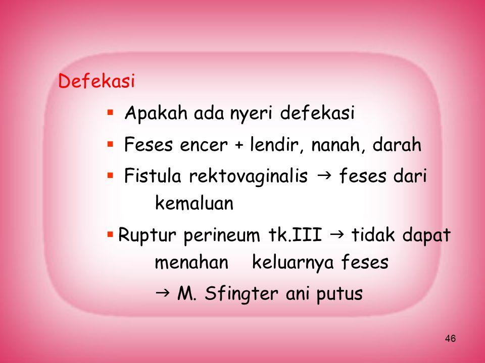 Defekasi Apakah ada nyeri defekasi. Feses encer + lendir, nanah, darah. Fistula rektovaginalis  feses dari kemaluan.