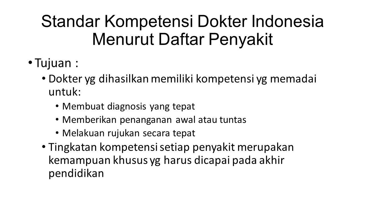 Standar Kompetensi Dokter Indonesia Menurut Daftar Penyakit