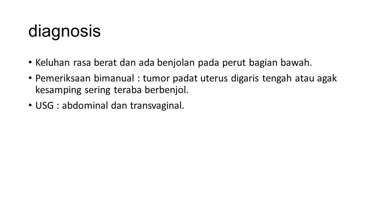 diagnosis Keluhan rasa berat dan ada benjolan pada perut bagian bawah.
