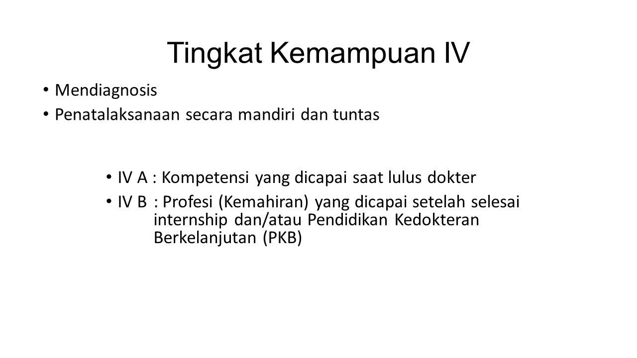 Tingkat Kemampuan IV Mendiagnosis