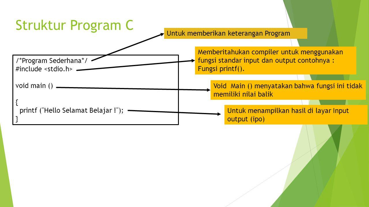 Struktur Program C Untuk memberikan keterangan Program